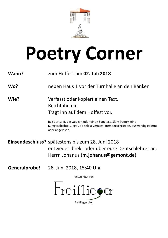 Aufruf Poetry Corner 2018